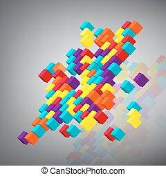 fundo, abstratos, cubes., 3d