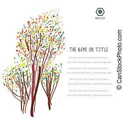 fundo, abstratos, esquema, árvores, negócio