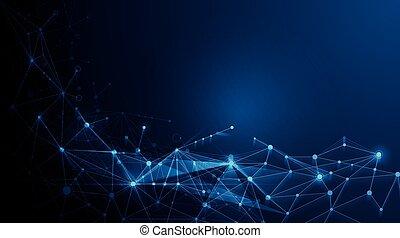 fundo, abstratos, -, moléculas, tecnologia, futurista
