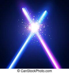 fundo, abstratos, néon, war., batalha, logotipo, raios, flash, espadas, dois, glowing, coloridos, clube, space., particles., ilustração, fight., luz laser, emblem., vetorial, cruzado, estrela, cruzamento, sabers, ou