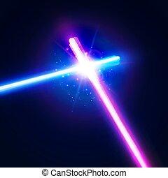 fundo, abstratos, néon, war., batalha, logotipo, raios, flash, espadas, dois, glowing, coloridos, clube, space., particles., ilustração, fight., laser, estrela, emblem., vetorial, cruzado, luz, cruzamento, sabers, ou