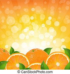 fundo alaranjado, com, laranja, sunburst