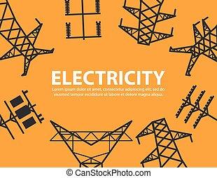 fundo, alto, equipamento, poste, voltagem, elétrico