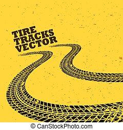 fundo amarelo, com, grunge, trilhas pneu