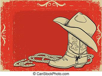 fundo, americano, botina, chapéu, boiadeiro, vermelho, ocidental, design.