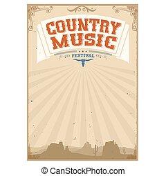 fundo, americano, música, paisagem, festival, país