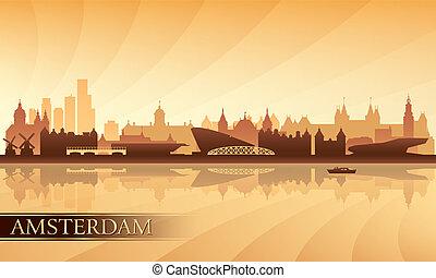 fundo, amsterdão, skyline, cidade, silueta