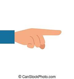 fundo, apontar dedo, mão, branca
