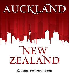fundo, auckland, zelândia, cidade, vermelho, novo, silueta