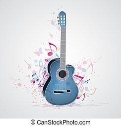 fundo, azul, guitarra