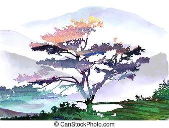 fundo, bonito, style., dawn., paisagem árvore, montanhas, cartões, fundos, oriental, aquarela
