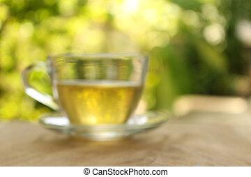 fundo borrado, :, xícara chá, ligado, um, fundo borrado, de, nature.