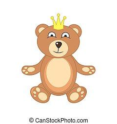 fundo, branca, coroa, isolado, urso