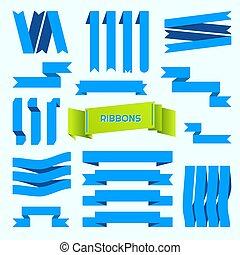 fundo, branca, denominado, set., vetorial, retro, azul, isolado, fitas, cobrança
