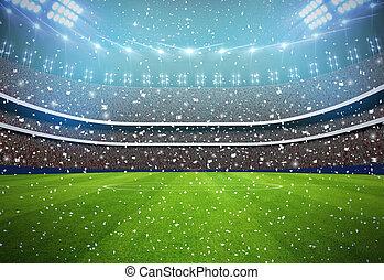 fundo, branca, estádio, equipe, futebol