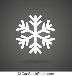 fundo branco, ícone, escuro, floco, neve