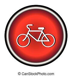 fundo branco, bicicleta, ícone, v
