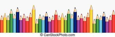 fundo branco, com, coloridos, lápis, jogo, borda, espaço cópia, bandeira