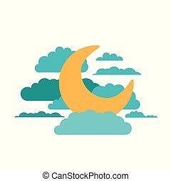 fundo branco, de, lua, em, a, céu, com, nuvens