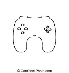 fundo branco, isolado, gamepad, ícone