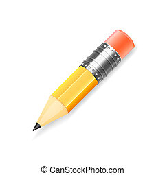 fundo branco, isolado, lápis amarelo