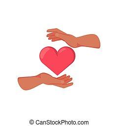 fundo branco, mão, coração
