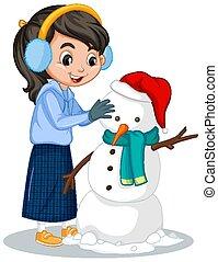 fundo branco, menina, boneco neve fazendo