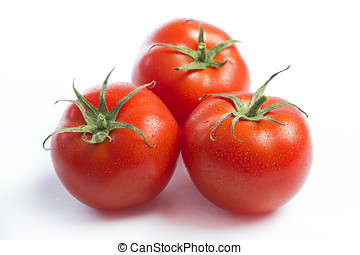 fundo branco, três, tomates, vermelho