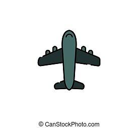 fundo branco, vetorial, ícone, ilustrado, avião