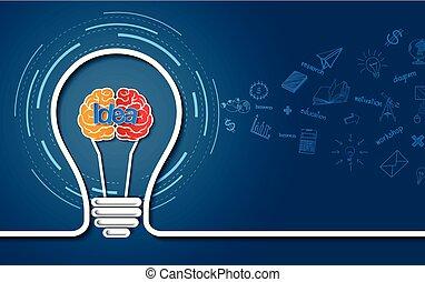 fundo, cérebro, idéia negócio, finance., bulbo, luz, concept., coloridos, blue., criativo, isolado, vetorial, ilustração, icon.