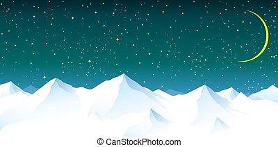 fundo, céu, montanhas, nevado, contra, noturna, estrelado