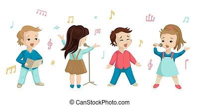 fundo, cante, ou, crianças, choir., jogo, ilustração, canção, vetorial, caráteres, branca, lição, música