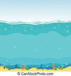 fundo, caricatura, submarinas, seamless, desenho, jogo, paisagem