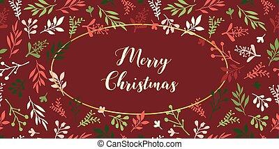fundo, cartão ouro, ellipse., decoração, folhas, convite, vermelho, mão, dezembro, folha, vetorial, verde, blog, feliz, partido, desenhado, feriado, natal, cartazes, illustration.
