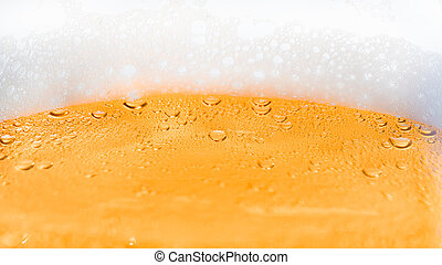 fundo, cerveja, com, espuma, e, bolhas