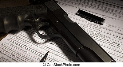 fundo, cheque, forma, para, um, arma, compra