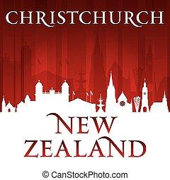 fundo, christchurch, skyline, zelândia, cidade, vermelho, novo, silueta