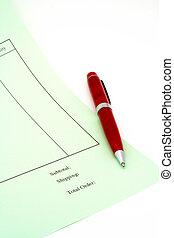 fundo, cima, caneta, fatura, em branco, fim, branca