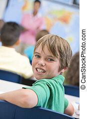 fundo, classe, olhar, câmera, estudante, focus), (selective, professor