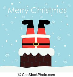 fundo, claus, chimney., aderido, santa, natal