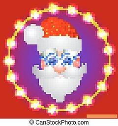 fundo, claus, glasses., vetorial, santa, luminoso, feriado, natal, vermelho, illustration.