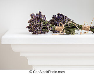 fundo, closeup., sobre, lavanda, grupo, isolado, flores, branca
