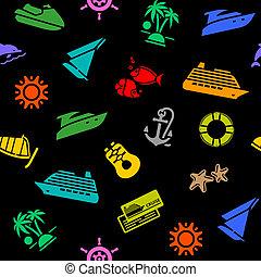 fundo, colorido, seamless, transporte, ícones