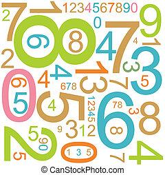 fundo, coloridos, números