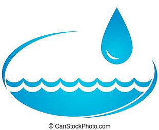 fundo, com, água, onda, e, gota