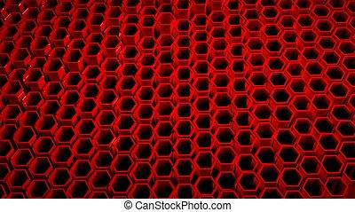 fundo, com, 3d, vermelho, colmeia, ligado, pretas