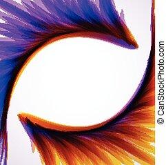 fundo, com, abstratos, arco íris, wings., vetorial