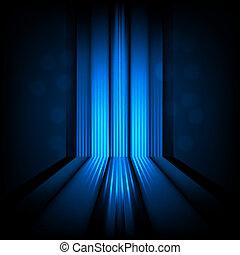fundo, com, abstratos, linhas, de, luz azul