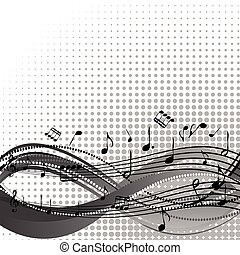 fundo, com, aduela, e, partituras