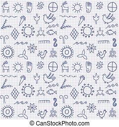 fundo, com, antiga, symbols.